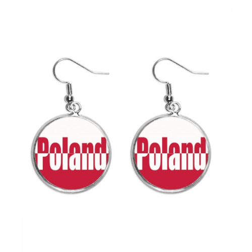 Poland Country Flag Name Ear Dangle Silver Drop Earring Jewelry Woman
