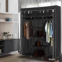 Canvas Wardrobe With Clothes Hanging Rail Shelves Storage Cupboard