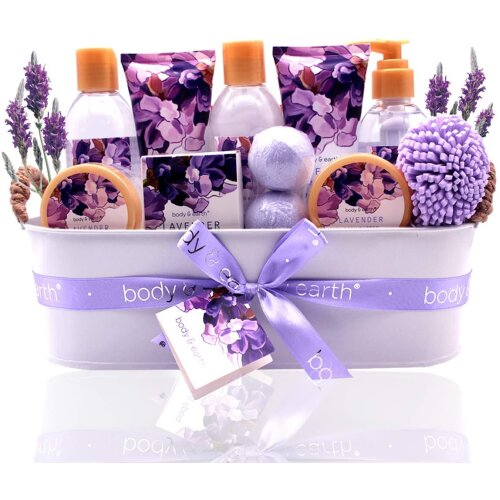 12pc Body & Earth Bath Spa Gift Basket | Lavender Bath Set