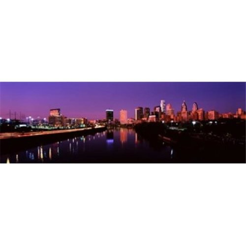 Buildings lit up at the waterfront  Philadelphia  Schuylkill River  Pennsylvania  USA Poster Print by  - 36 x 12