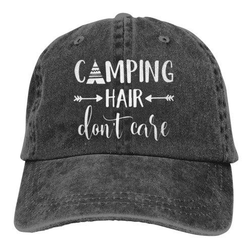 Camping Hair Don't Care Denim Baseball Caps