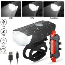 LED Bike Front Light Rear Lamp USB Rechargeable  Security Cycling Set