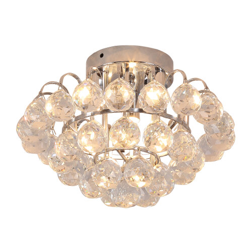 HOMCOM Ceiling Lamp Chandelier Flush Mount 3 Light Crystal Silver Ф30cm Hallway