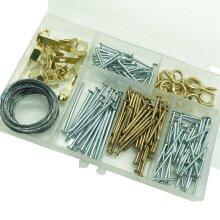 172pk Photo Frame Hanging Kit Set | Hooks, Wire, Rings, Nails