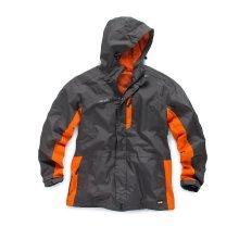 Scruffs Worker Jacket Charcoal Grey and Orange Waterproof Mens Coat (Sizes S-XXL)