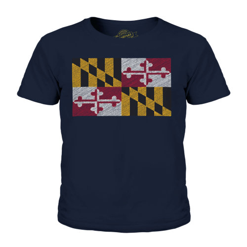 Candymix - Maryland State Scribble Flag - Unisex Kid's T-Shirt