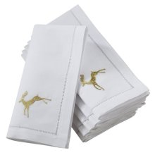 Saro Lifestyle NM134.W20S 20 in. Broderie Square Hemstitch Napkins with Embroidered Gold Reindeer Design - White