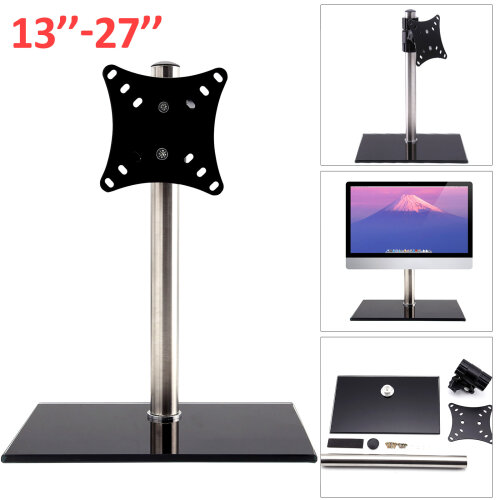 Single Arm LCD LED Monitor TV Bracket Desk Stand For 13-27''Screen