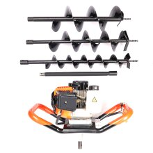 """52cc Petrol Earth Auger 3HP Post Hole Borer Ground Drill 4,6,8"""" Bits 24'' Exten"""