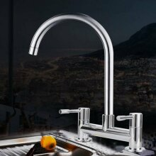 Modern Dual Lever Chrome Kitchen Sink Mixer Taps 2 Hole Mounted