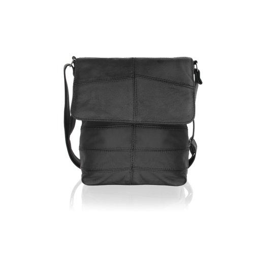 """Woodland Leather Black Landscape Messenger Bag 15.0"""" Flap Over Adjustable Shoulder Strap"""