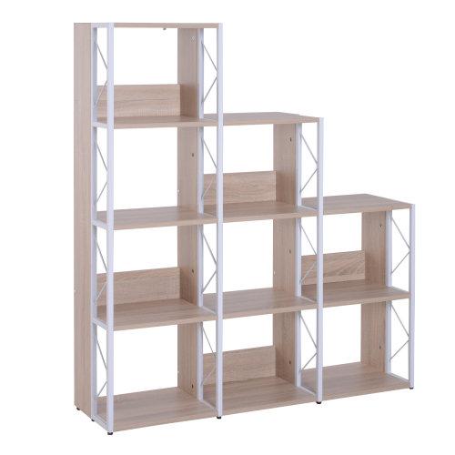 HOMCOM 9 Cube Bookshelf Wood Step Rack Bookcase Display Shelves Organiser Plants