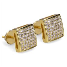 Men's Square Stud Earrings - Unique Thread Stud Earrings Cubic Zirconia Diamond 18K Gold Plated Jewelry Perforated Gift