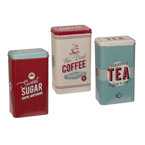 Set Of 3 Rectangular Vintage Tin Tea Coffee Sugar Kitchen Storage Jar Canisters