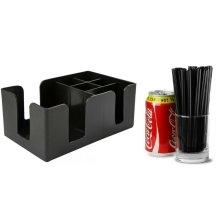 "Classic Plastic Bar Caddy in Black + 500 Black Jumbo 6"" Straws"