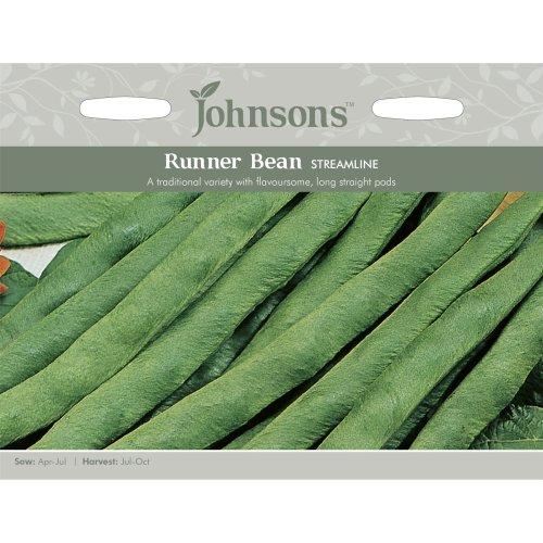 Johnsons Seeds - Pictorial Pack - Vegetable - Runner Bean Streamline - 50 Seeds