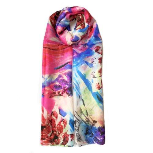 Vshine Silk and Shine/Large Silk Scarf/ Colour Pop/100% Mulberry Silk