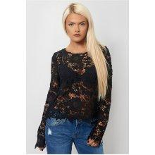 Black Crochet Long Sleeve Blouse