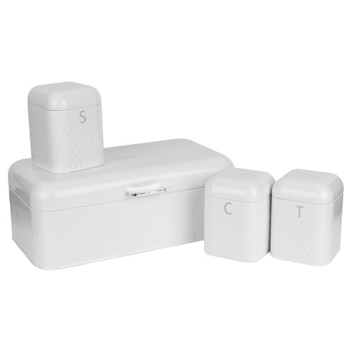 (White) LIVIVO Taurus 4pc Kitchen Storage Set with Airtight Lids Includes Tea Coffee Sugar Canister Jar with Matching Stylish Bread Bin