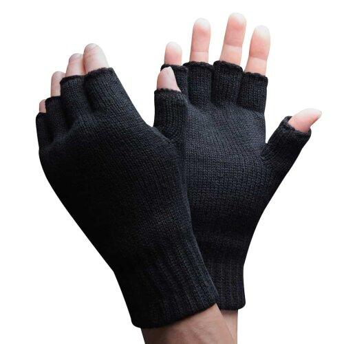 Mens 3M Thinsulate 40 gram Thermal Insulated Black Fingerless Gloves