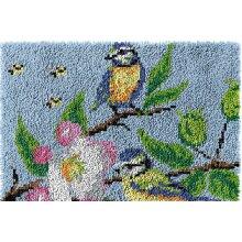 Two Birds Scenery Rug Latch Hooking Kit (64x48cm blank canvas)