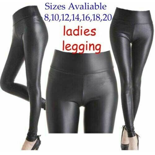 Ladies High Waist Black Faux Leather Leggings Shiny Wet Look Stretchy Tight Pant