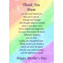 """Thank You Mum Poem Verse Mother's Day Greeting Card 8""""x5.5"""""""