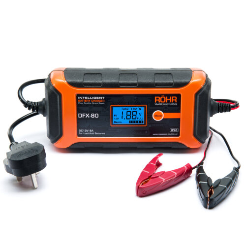 Röhr DFX-80 Smart Car Battery Charger AGM / GEL / WET Repair 8 Amp 12v | Intelligent Trickle / Turbo Fast Charge