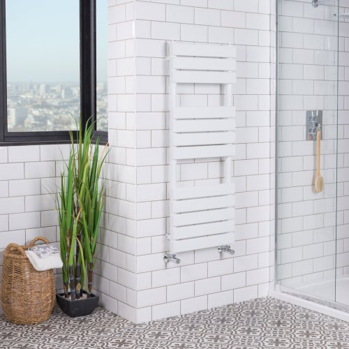Juva 1200 x 450mm White Flat Panel Heated Towel Rail