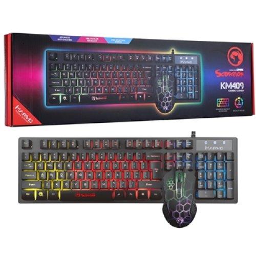 Marvo Scorpion Km409 7 Colour Rainbow Led Usb Gaming Keyboard & Mouse Set KM409-UK