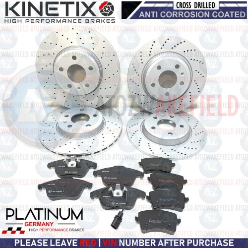 FOR AUDI A4 A5 FRONT REAR DRILLED BRAKE DISCS PLATINUM GERMANY PADS 314mm 300mm
