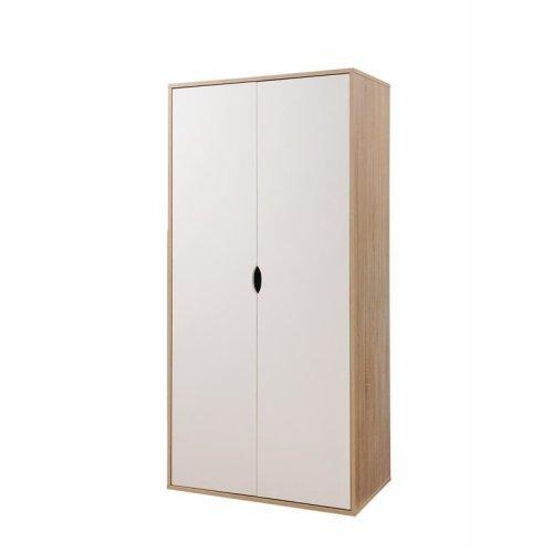 2 Door Double Wardrobe White & Sonoma Oak Effect Bedroom Furniture Cupboard