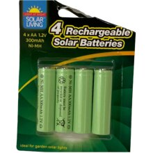 Solar Light AA 1.2V 300 mAh Ni-MH Rechargeable Batteries Pack of 4
