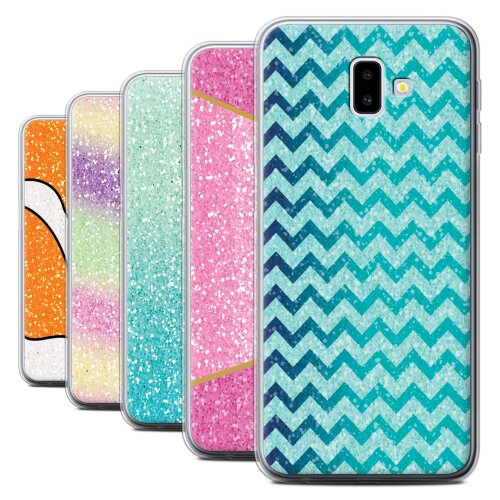Glitter Pattern Effect Samsung Galaxy J6 Plus 2018/J610 Phone Case Transparent Clear Ultra Soft Flexi Silicone Gel/TPU Bumper Cover