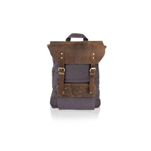 "Woodland Leather Navy Canvass With Brown Leather Trim 18.0"" Back Pack Front Patch Pocket Adjustable Shoulder Straps"