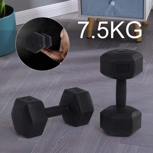 (2x7.5kg) 2x 5kg/7.5kg/10kg Dumbbells Set Hexagon Dumbbell