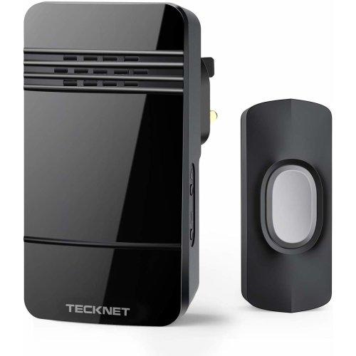 TECKNET Wireless Doorbell, IP44 Weatherproof Wall Plug-in Cordless Door Chime Kit with 150m Range,32 Chimes,4-Level Volume & LED Light,Best for Plug i