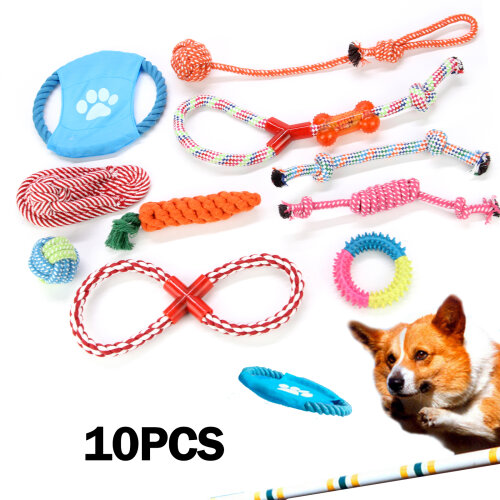 10PC Dog Rope Toys Tough Strong Chew Knot Teddy Pet Puppy Bear Cotton Toy Set