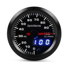 """2"""" 52mm Digital Pointer 7 Color LED 0-100PSI Oil Pressure Gauge Meter Smoke Tint Face Sensor 10-15V DC Power for All 12V Cars Vehicles"""