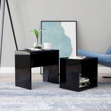 vidaXL  Coffee Table Set High Gloss Black 48x30x45 cm Chipboard