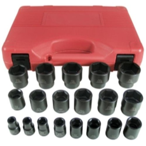 19 Piece 0.5 in. Drive 6 Point SAE Short Impact Socket Set