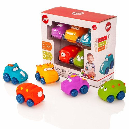 Tippi Monster Movers Soft Play Push Along Cars Set - Baby or Toddler