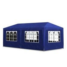 vidaXL 3 x 6m Blue Gazebo | 6-Wall Pavilion Party Tent