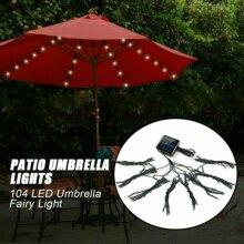 104 LED Solar Parasol Light Garden Patio Outdoor Table Umbrella  Light