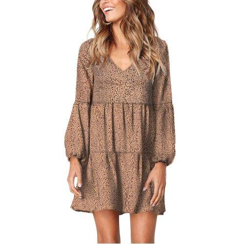 (Brown, L) Womens Casual Tunic Dress Leopard Ruffle V-Neck Flowy Swing Loose Shift Tunic Dresses