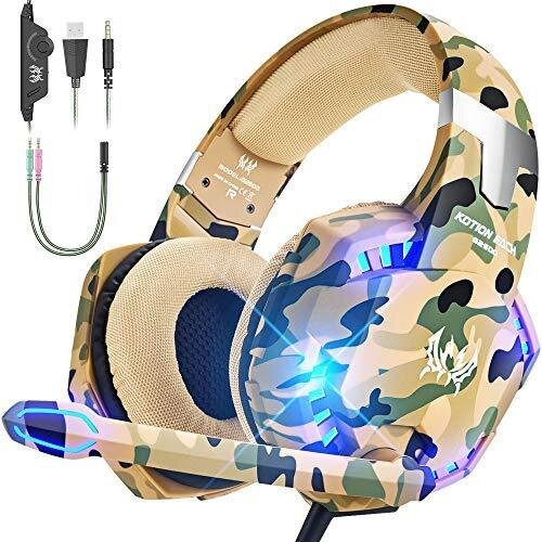 VersionTECH. Gaming headset for PS4 Xbox One PC Headphones with Microphone LED Light Noise Cancellation Over Ear Compatible with Nintendo Switch Gam