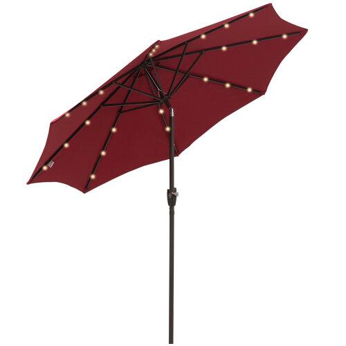 Outsunny Garden 24 LED Light Parasol Outdoor Tilt Sun Umbrella Patio Club Party