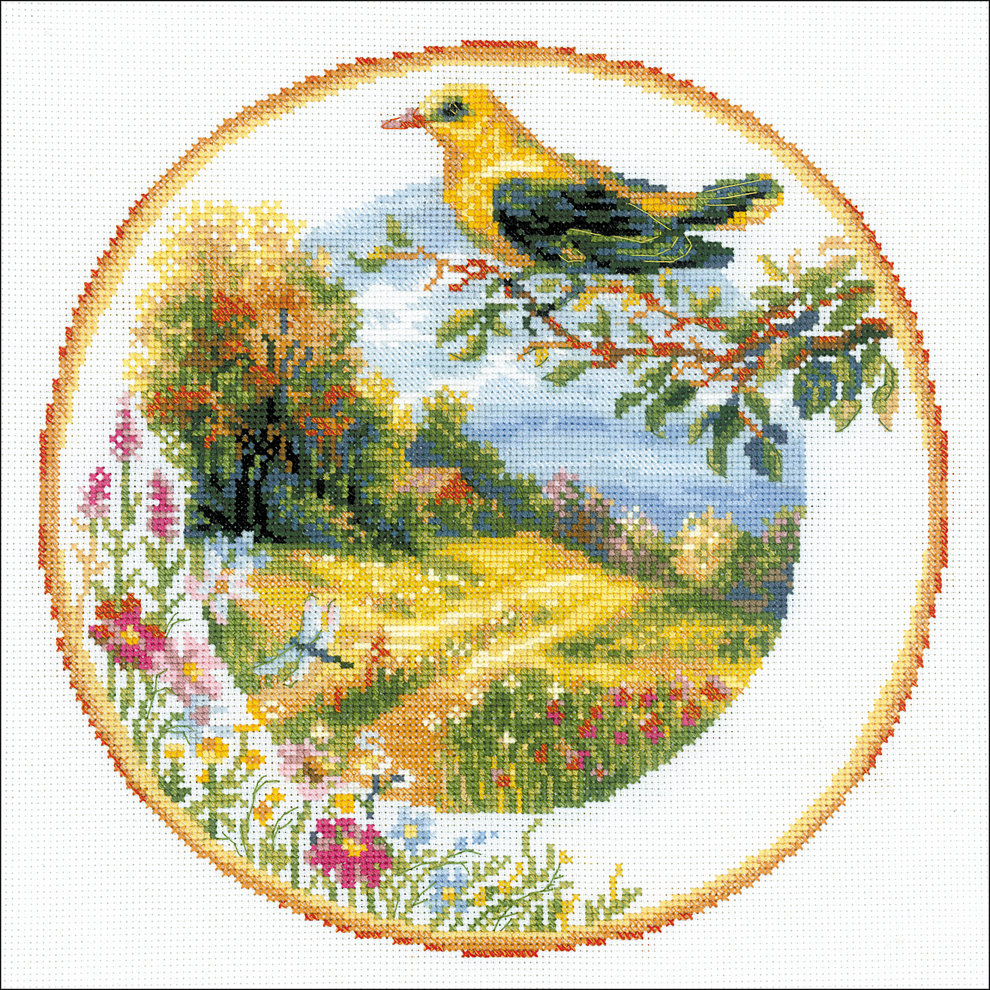 "14 Count RIOLIS Counted Cross Stitch Kit 11.75/""X11.75/""-Wreath With Bird Cherry"