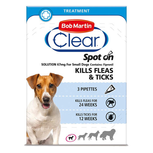 (Small Dog, Single Pack (3 Tubes)) Bob Martin Clear Spot On Dog Flea & Tick Solution