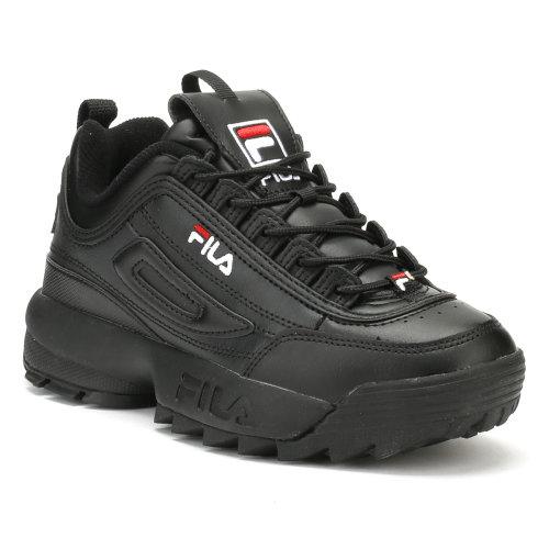 (UK 4) Fila Disruptor II Premium Womens Black / White / Fila Red Trainers